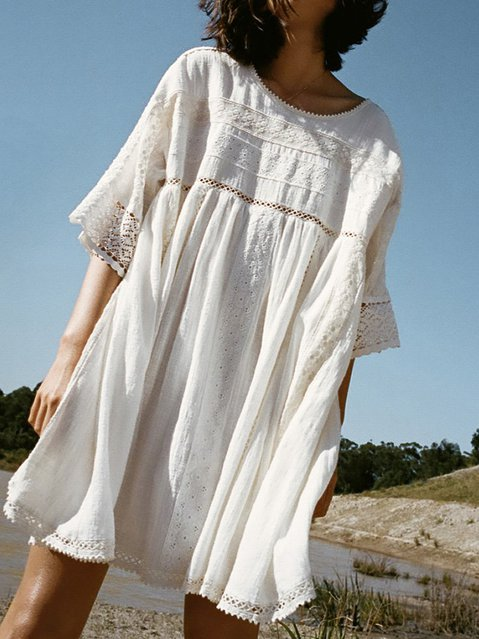 Half Sleeve Solid Round Neck Casual Dresses