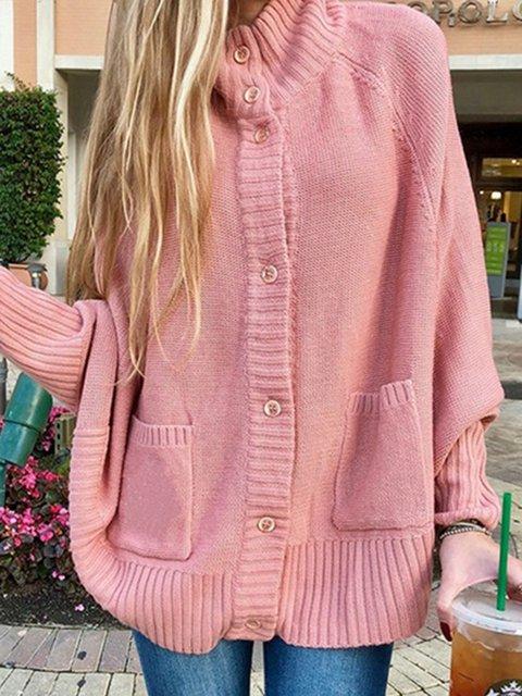 Plus Size Women Coat Pockets Batwing Solid Coat