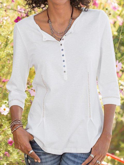 3/4 Sleeve Paneled V Neck Shirts