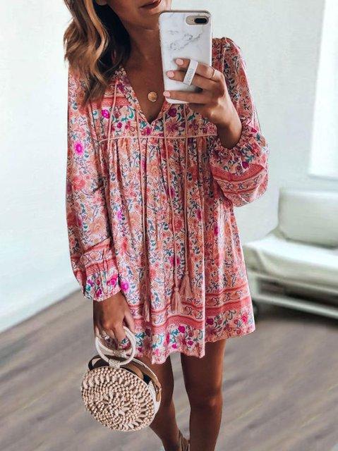 Bohemian long-sleeved dress