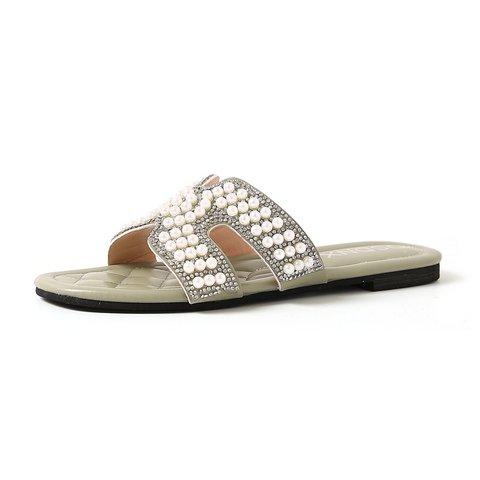 Open Toe Imitation Pearls Cutout Flat Slippers