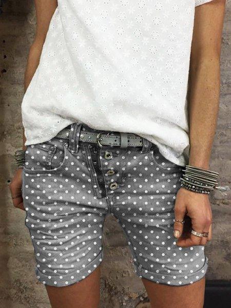 Casual Polka Dots Women Pockets Short Pants
