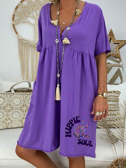 Plus Size Women Caftan V-Neck Cute Pattern Casual T-Shirt Dresses