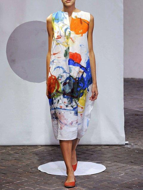 V Neck Women Summer Dresses Floral-Print Abstract Dresses