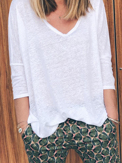 Casual Cotton-Blend V Neck Shirts & Tops