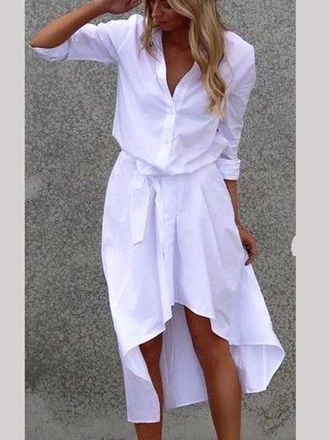 V Neck Printed Solid Half Sleeve Dresses