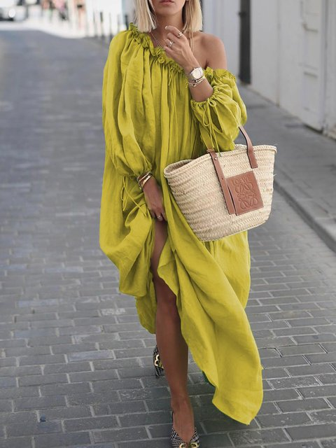 One Shoulder Women Dresses Shift Daytime Boho Plain Dresses