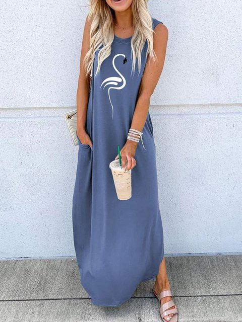 Flamingo Printing Simple Maxi Dresses