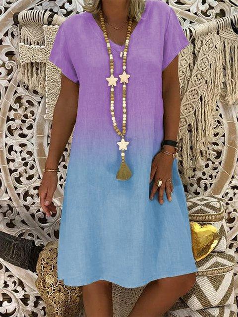 Cotton-Blend V Neck Casual Dresses