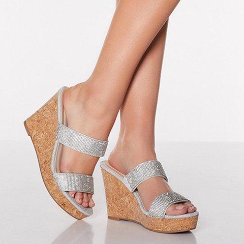Silver Pu Wedge Heel Casual Rhinestone Summer Sandals