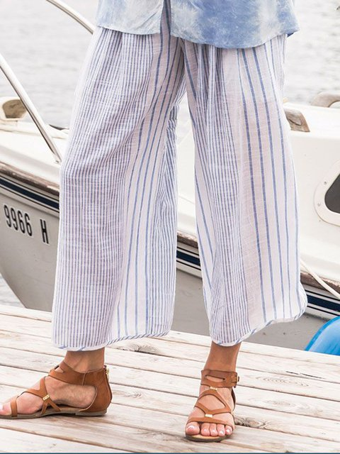 Holiday Stripes Cotton Casual Printed Pants
