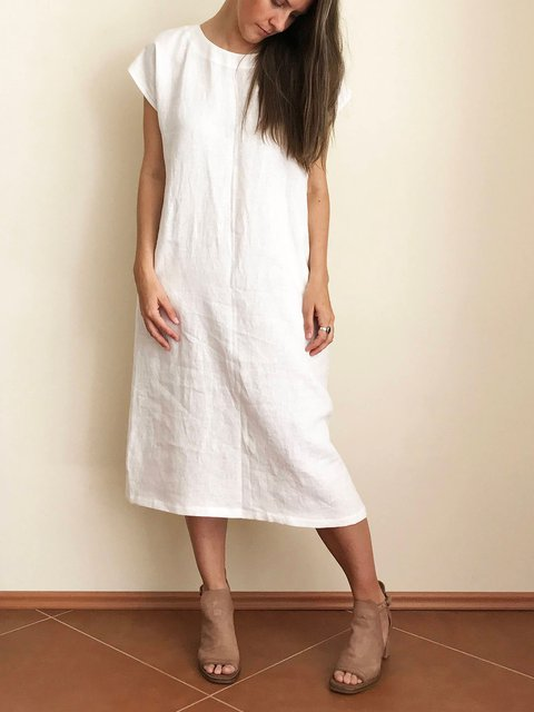Crew Neck Women Summer Dresses Paneled Solid Dresses
