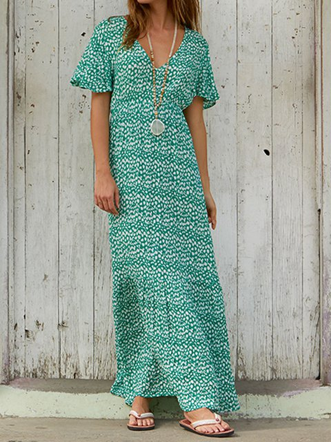 V Neck Beach Women Dresses Going Out Cotton Printed Dresses