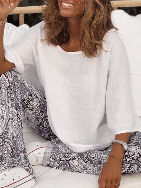Casual Solid 3/4 Sleeve Round Neck Shirts & Tops