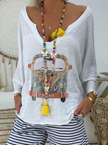 Long Sleeve V Neck Printed Shirts & Tops