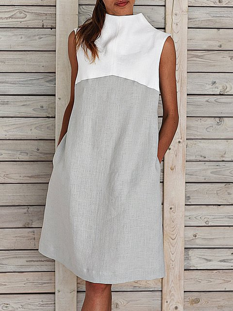 Plus Size Midi Dresses Women Summer Shift Sleeveless Turtleneck Paneled Dresses