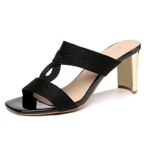 Chic Knitted Fabric Heel Open Toe Slide Sandals