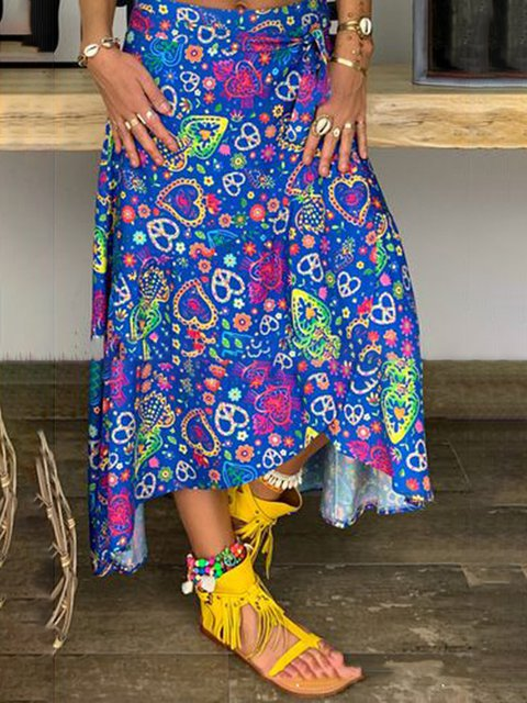 Women Floral Skirts Asymmetrical Casual Skirts