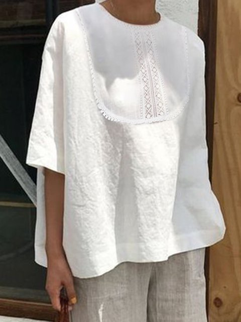 Cotton Paneled Casual A-Line Shirts & Tops