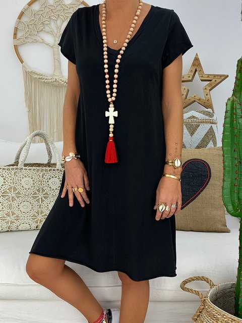 Casual Cotton Solid V Neck Dresses