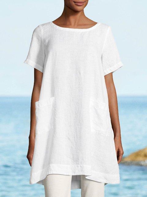 Linen Short Sleeve Crew Neck Boho T-Shirts