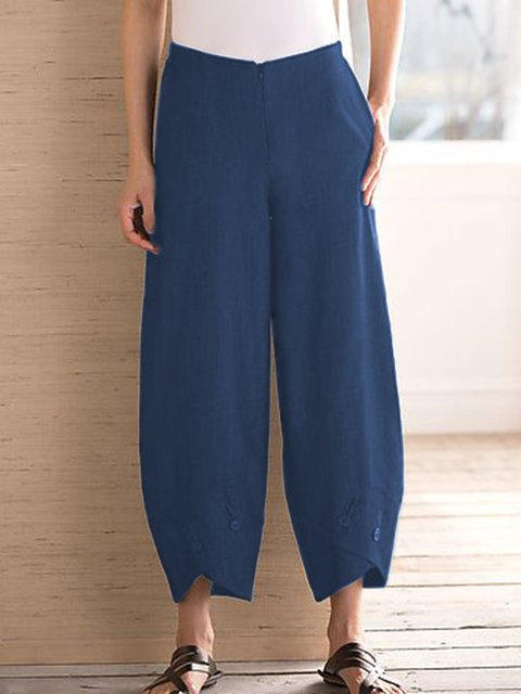 Plus Size Pockets Elastic Waist Back Cocoon Capri Pants