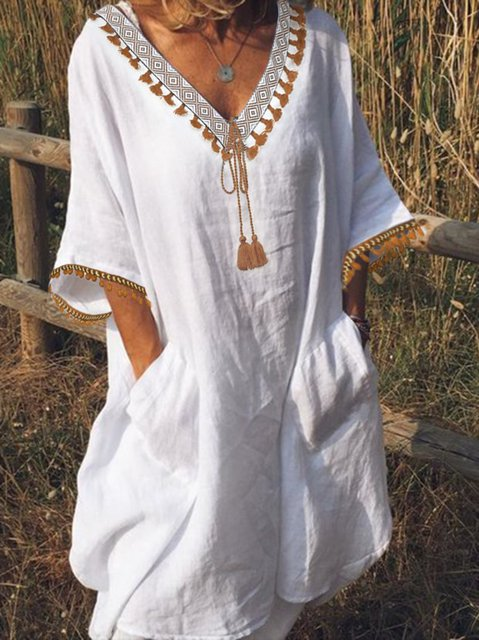 White Cotton Holiday Short Sleeve Dresses