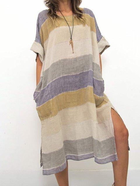 Plus Size Stripe Women Summer Midi Dresses