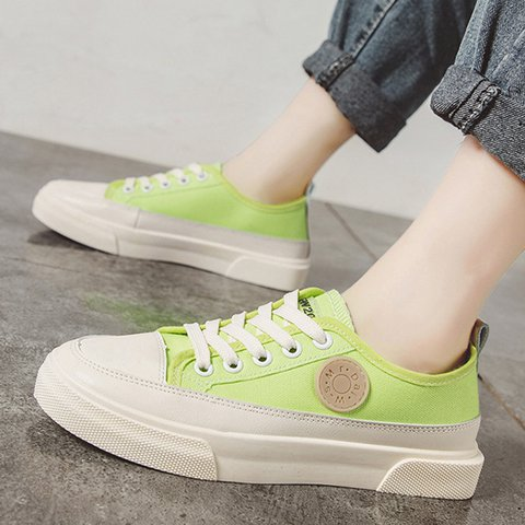Canvas Lace-Up Round Toe All Season Sneakers