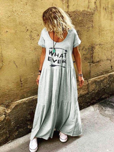 Ruffled Short Sleeve Casual Round Neck Dresses