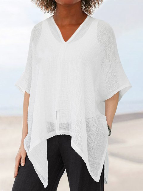 Cotton-Blend Casual 3/4 Sleeve Shirts & Blouses