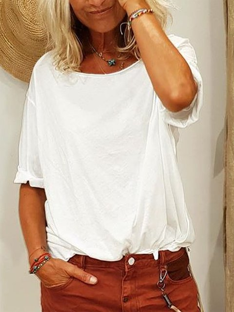 Short Sleeve Solid Casual Shirts & Tops