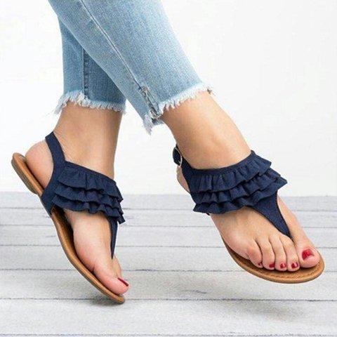 Ruffled Upper Flip-Flop Flat Summer Sandals