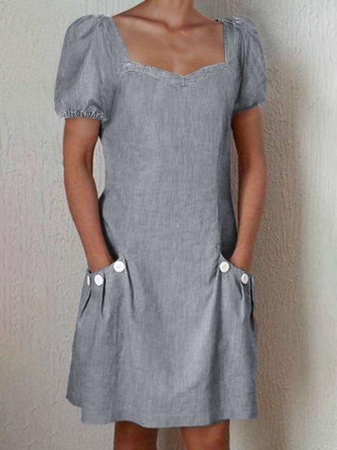 Square Neck A-Line Holiday Dresses