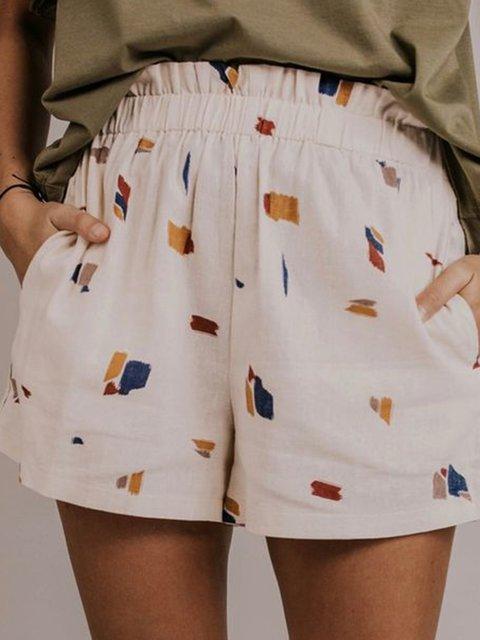 Printed Pockets Cotton Geometric Casual Pants