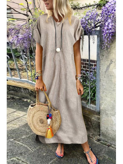 V Neck Short Sleeve Pure Plain Casual Dress