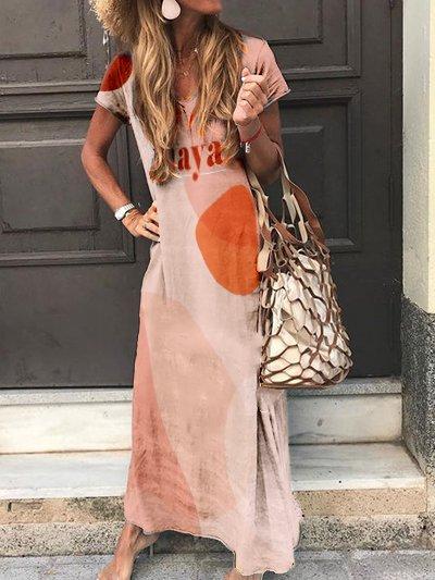 Orange Vintage Cotton Short Sleeve Dresses