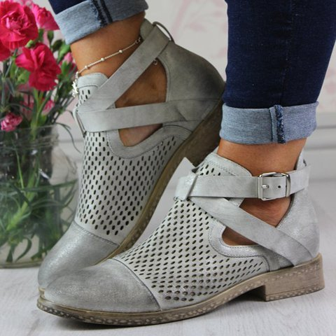 Hollow-Out Buckle Strap Low Heel Booties