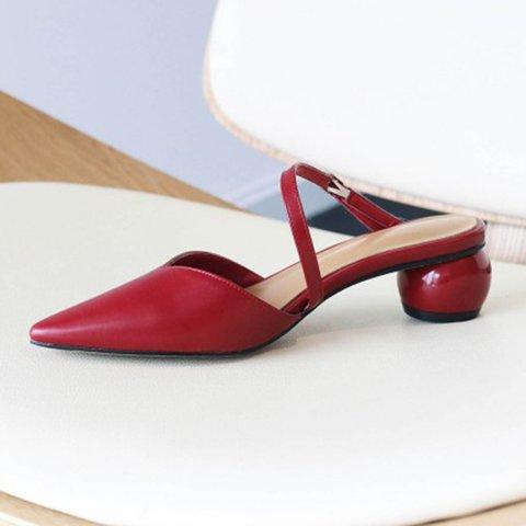 Date Genuine Leather Pointed Toe Chunky Heel Slide Mule Sandals
