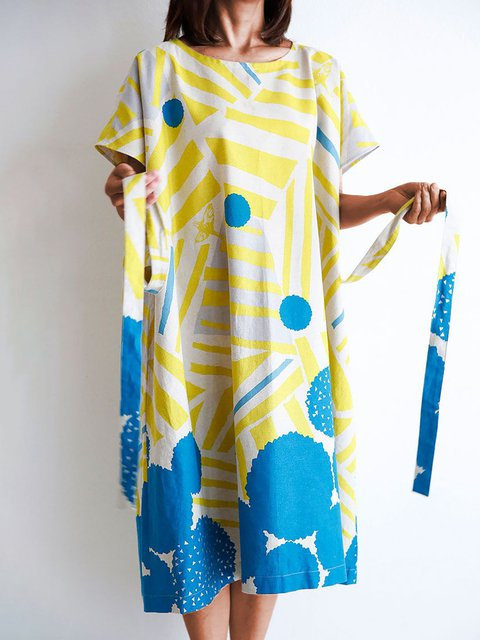 Crew Neck Printed Women Dresses Going Out Casual Abstract Dresses