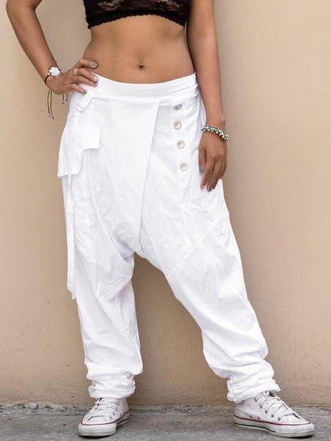 Casual Pockets Buttoned Women All Season Pants