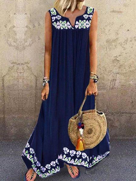 V Neck Women Summer Dresses Shift Casual Floral-Print Dresses