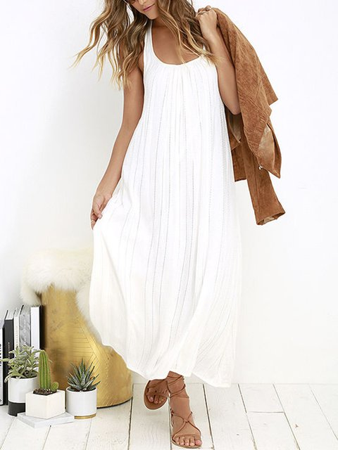 Square Neck Shift Daily Casual Plus Size Maxi Dresses