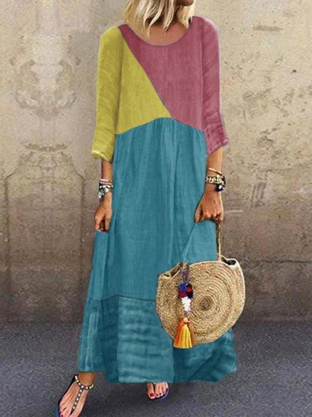 Color Block 3/4 Sleeve Plus Size Maxi Dresses