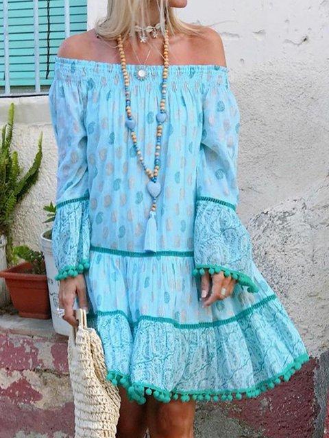 Off Shoulder Women Summer Dresses Holiday Boho Floral Dresses