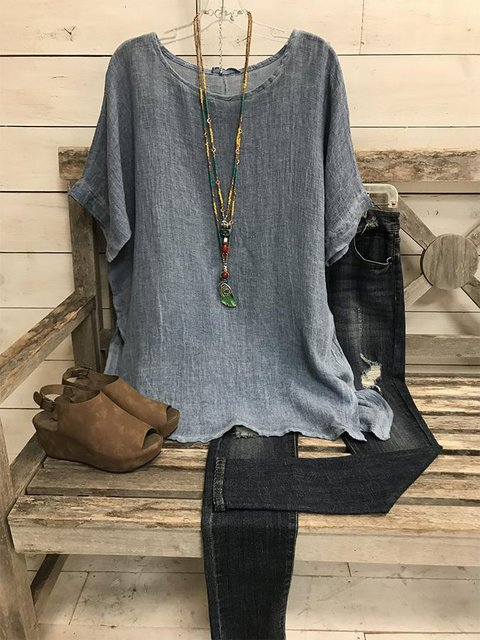 Summer Solid Cotton Casual Short Sleeve Crew Neck Shirts & Tops