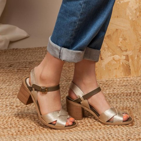 Plus Size Chunky Heel Peep Toe Buckle Sandals