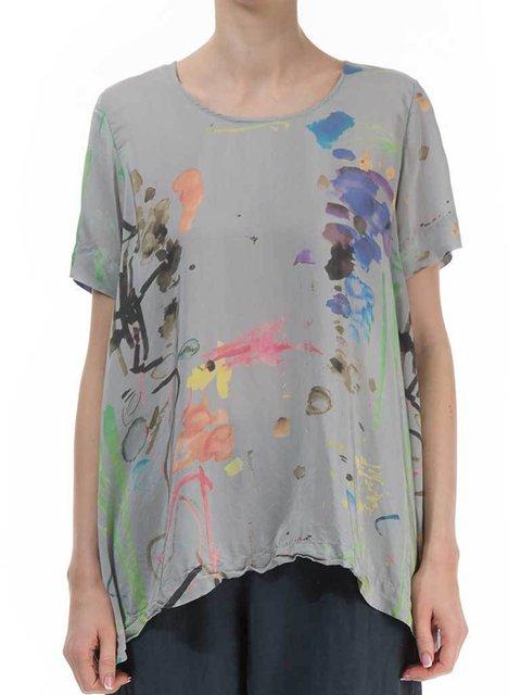 Plus Size Art Line Print Women Summer T-shirts