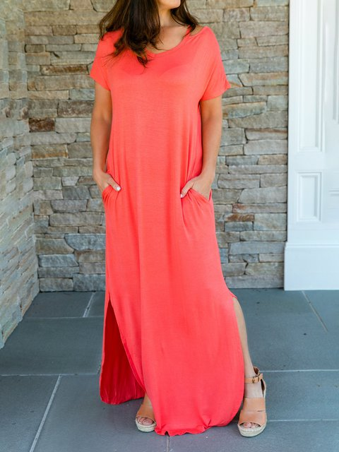 Solid Shift Holiday Casual Plus Size Maxi Dresses