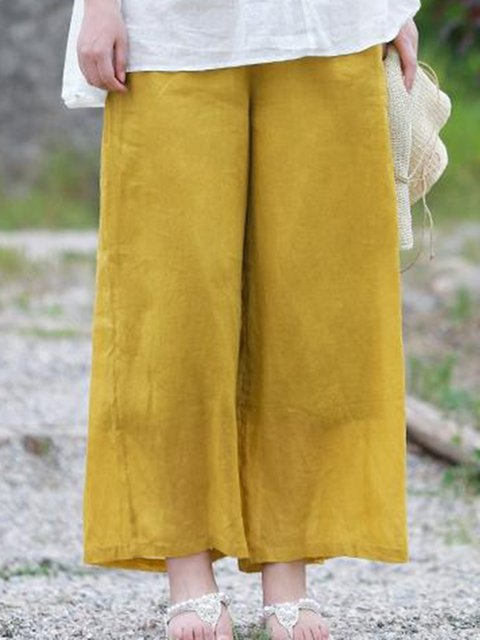 Holiday Cotton Pockets Solid Pants